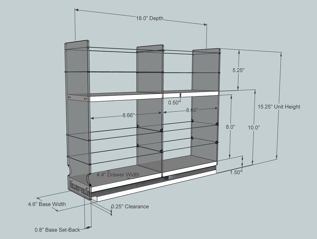 4 x 2 x 18 Storage Solution Drawer, Cream - Dimensioned