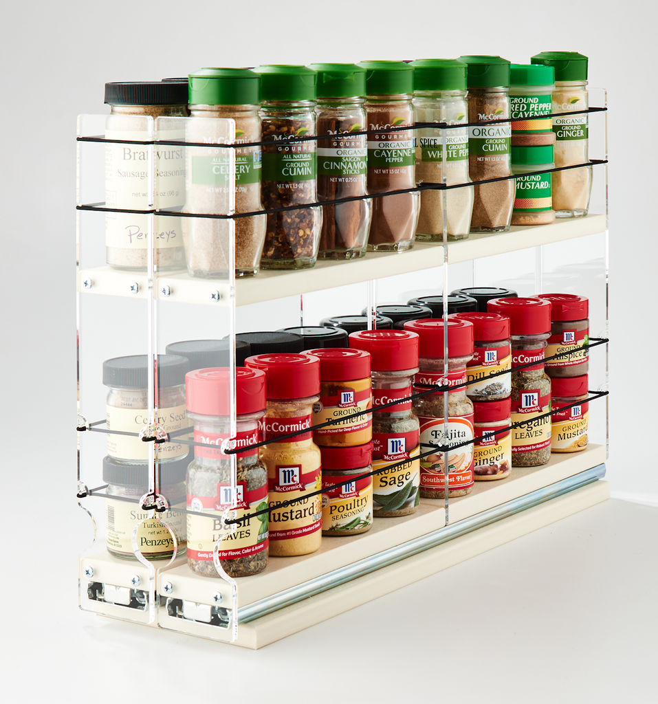 22x2x18 Spice Rack Drawers Cream - Full Cabinet Depth Storage for Your Spice Jars