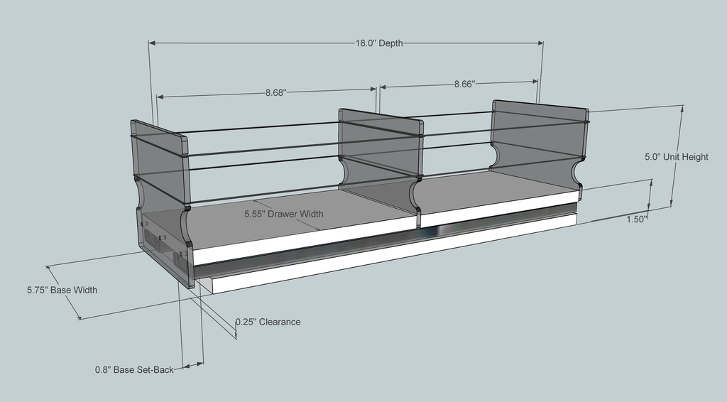 5x1x18 Storage Drawer - Dimensioned