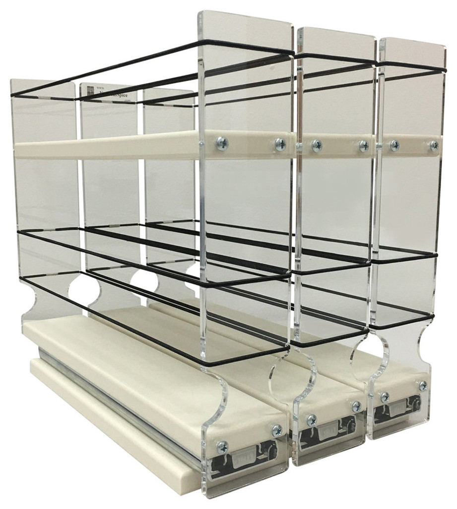 "Spice Rack 222x1.5x11 Cream Unit: 6.9"" wide x 9.25"" tall x 10.6"" depth Drawers: (3) 2.1"" wide x 10.05"" long"