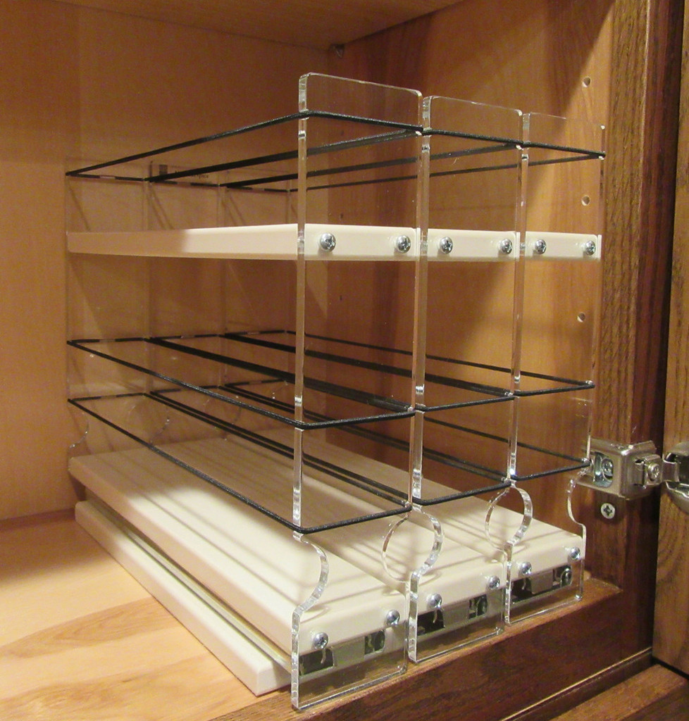 Spice Rack 222x1.5x11 Cream In Cabinet Empty