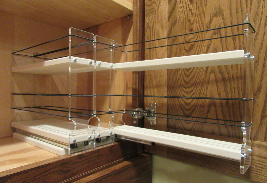 Spice Rack 222x1.5x11 Cream In Cabinet Drawwr Pulled Out