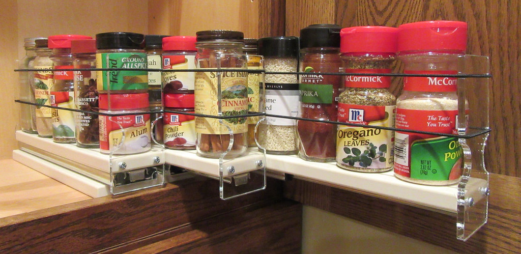 Spice Rack 222x1x11, Cream - Three separate full extension drawers