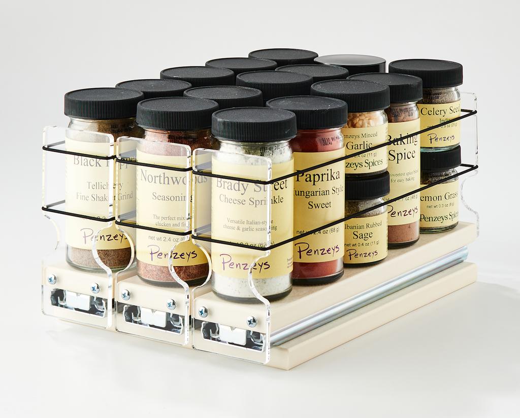 "222x1x11 Spice Rack  Cream Unit: 6.9"" wide x 5.0"" tall x 10.6"" depth Drawers: (3) 2.1"" wide x 10.05"" long"