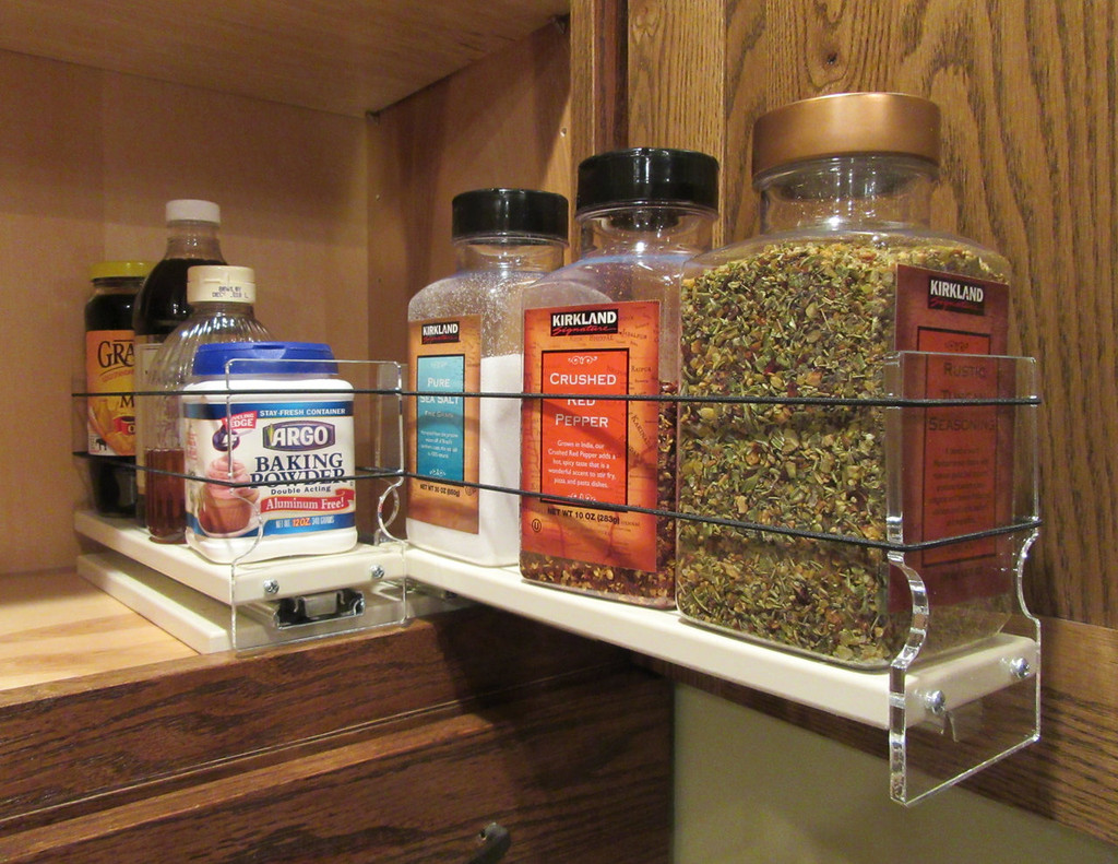 Spice Rack 33x1x11, Cream Full Drawer Out
