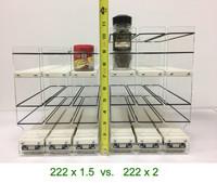 Spice Rack 222x1.5 vs 222x2 - Height comparison