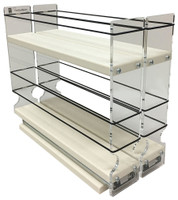"Spice Rack 22 x 1.5 x 11, Cream Unit: 4.6"" wide x 9.25"" tall x 10.6"" depth Drawers: (2) 2.1"" wide x 10.05"" long"