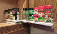 Spice Rack 22 x 1 x 11, Cream - Loaded Drawer Out