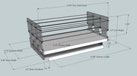 Spice Rack 222x1x11, Maple - Dimensioned