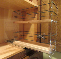 4x2x11 Spice Rack, Maple - Empty Drawer Out