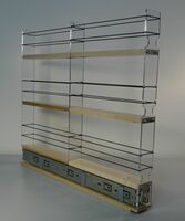 "2x3x22 Spice Rack Drawer - Maple Unit: 2.3"" wide x 19.52"" tall x 22.1"" depth Drawers: (1) 2 sections each 2.1"" wide x 10.7"" long"
