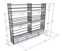3x3x22 Spice Rack Drawer - Dimensioned