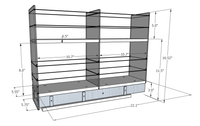5x2x22 Storage Solution Drawer - Dimensioned