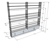 2x3x22 Spice Rack Drawer -  Dimensioned