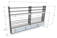 2x2x22 Spice Rack Drawer -  Dimensioned
