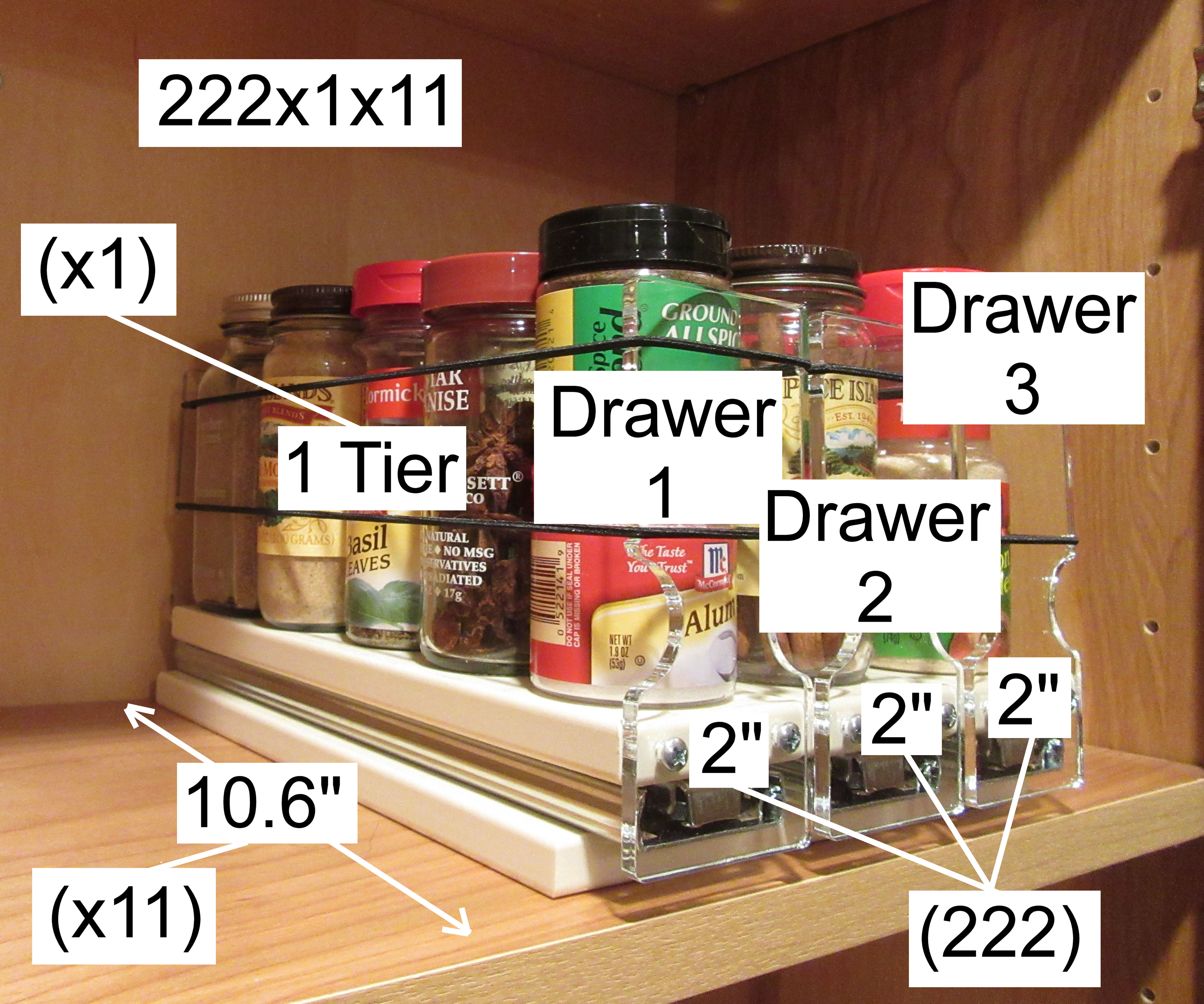 How the 222x1x11 Spice Rack is named