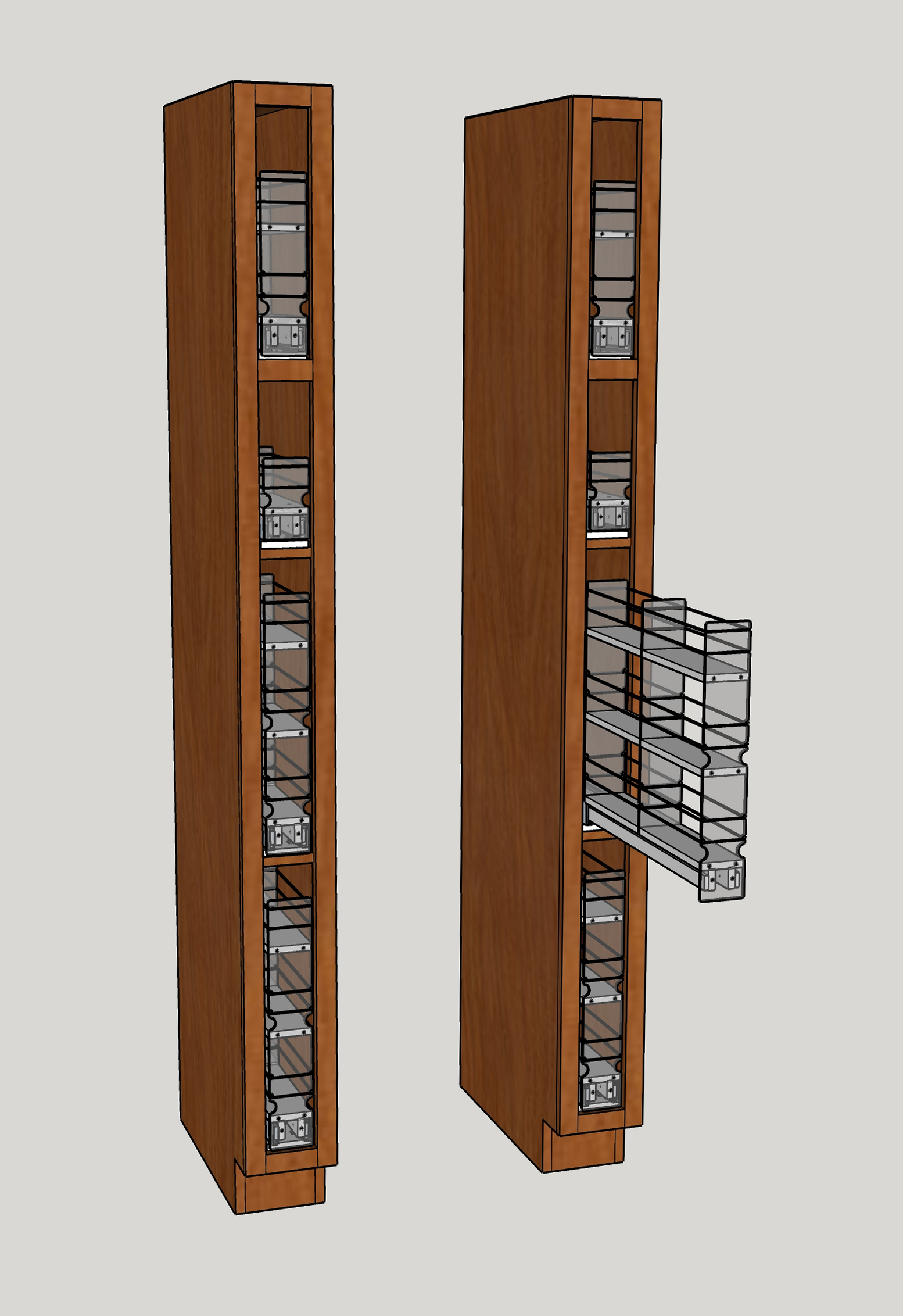 3x1x22, 3x2x22 and 3x3x22 Units in Narrow Cabinet