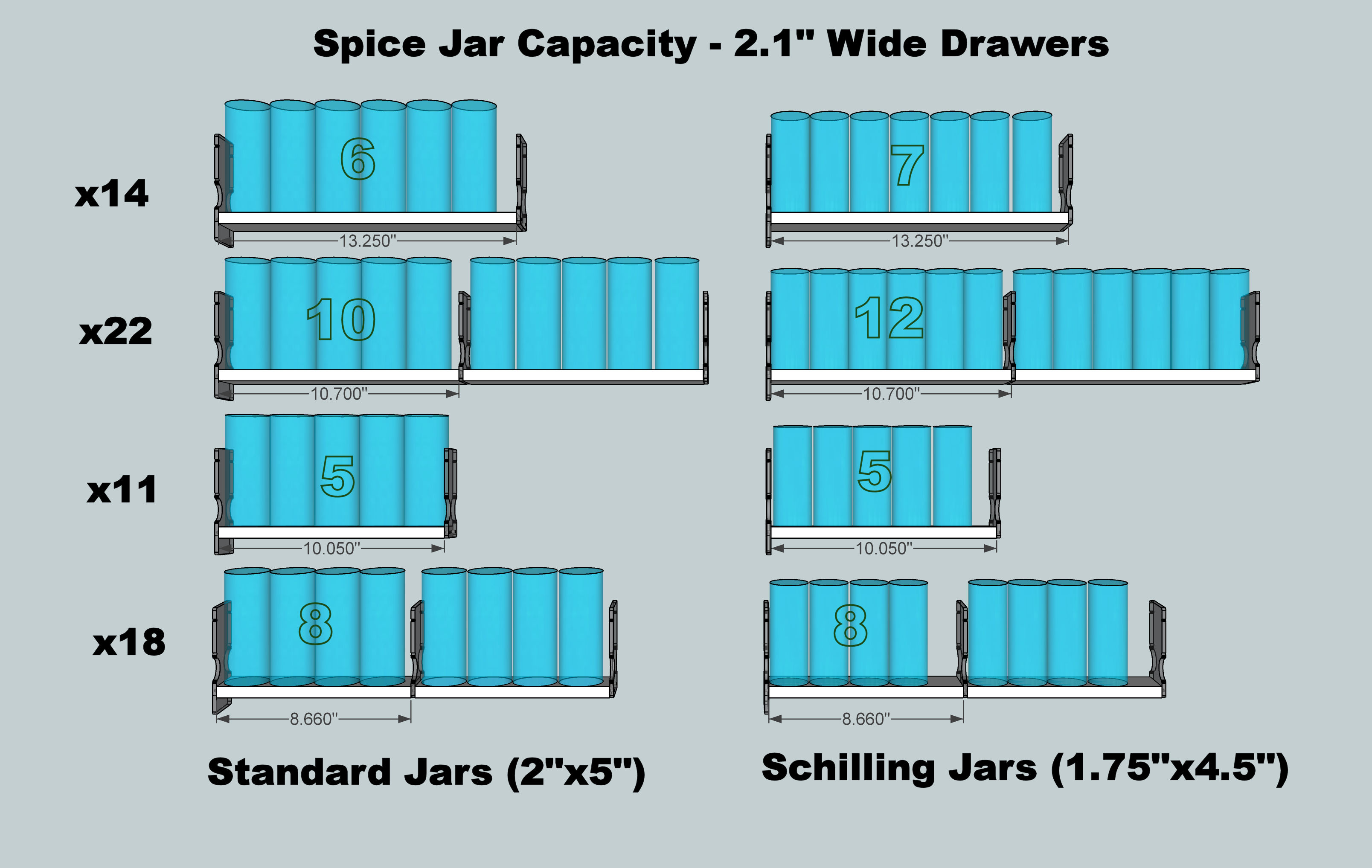 Spice Jar Fits in Spice Rack Drawers