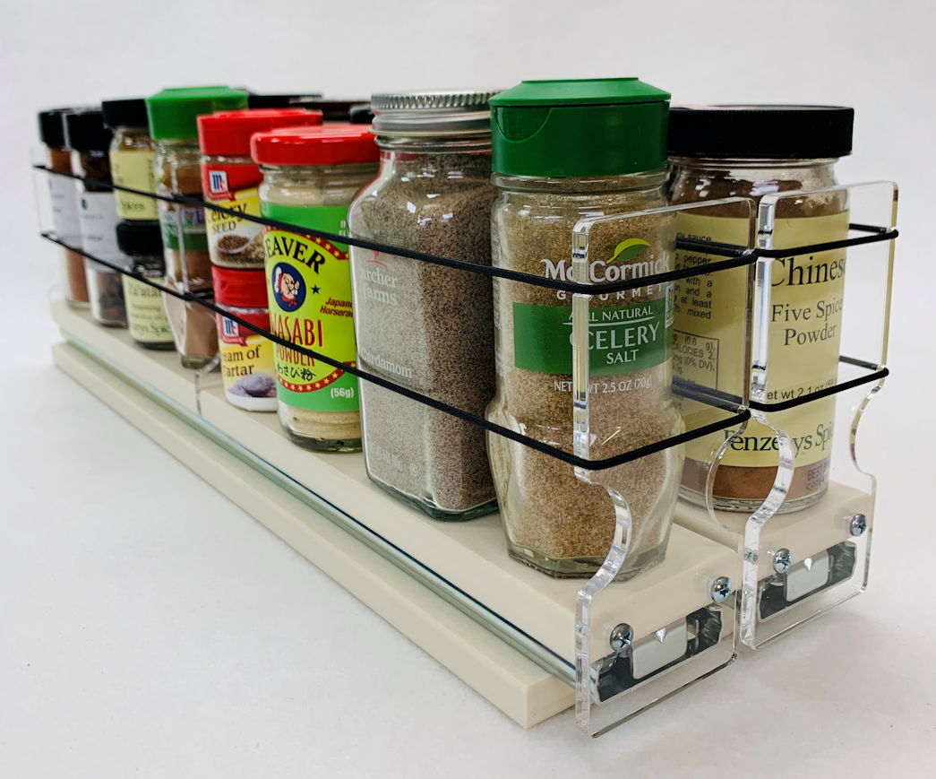 Holds 18 Spice Jars on 2 Individual Drawers