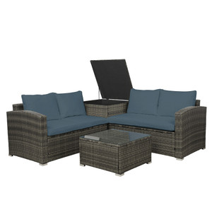 4-Pieces Gray PE Rattan Wicker Outdoor Sectional Sofa Set with Gray Cushion