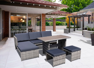 5-Piece Wicker Patio Outdoor Dining Table Set with Ottomans and Cushions