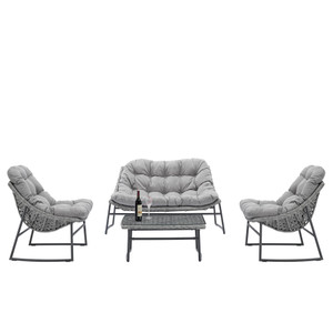 4-Piece Gray Classic Rattan Conversational Sofa Set withy Gray Cushions