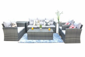 6 -Piece Gray Rattan Wicker Conversational Sofa Set with Gray Cushions (UK Customer Only)