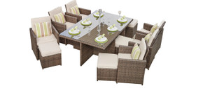 11-Piece Patio Brown Wicker Dining Set with Beige Cushions (UK Customer Only)