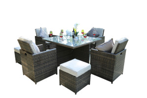 9-Piece Patio Brown Wicker Rattan Dining Sets with Beige Cushion (UK Customer Only)