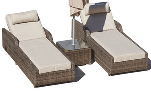 Direct Wicker 3 Piece Chaise Lounge with Cushion