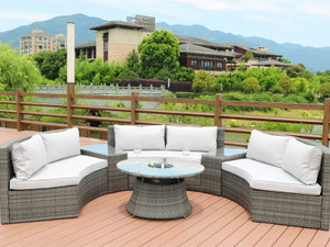 Direct Wicker Jessie 6 Piece Rattan Sectional Set with Cushions