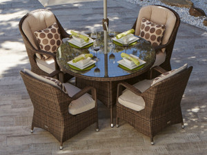 Direct Wicker MacArthur Patio Wicker 5 Piece Round Dining Set
