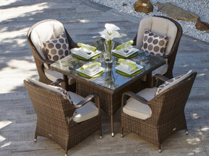 Direct Wicker Malachi Patio Wicker 5 Piece Square Dining Set