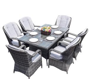 Direct Wicker Waverly Patio Wicker 7 Piece Rectangular Dining Set