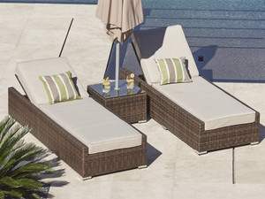 Direct Wicker 3 Pieces Chaise Lounge Outdoor Furniture with Cushion
