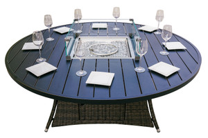 Direct Wicker 8 Seat Round  Patio Fire Pit Dining Table(TABLE ONLY)