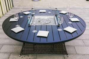 Direct Wicker 8 Seat Round  Gas Fire Pit Dining Table(TABLE ONLY)