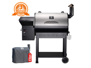 Direct Wicker Portable Party Wood Pellet BBQ Grill & Smoker 450 Cooking Area 8-in-1 Grill in Smoke