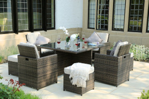 9 Pieces Patio Furniture  Brown Wicker Rattan Dining Sets with Beige Cushion and Ottomans