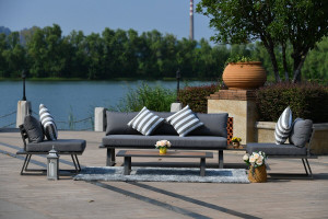 5-Piece Patio Sectional Set with Gray Cushions