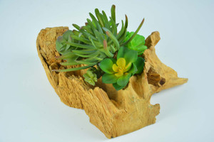 Indoor Decorative Artificial Succulent Plant with Wood Pot