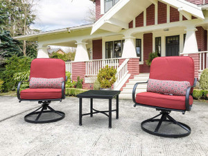 Direct Wicker 3 Piece Outdoor Conversation Furniture Chair Set for Yard Porch