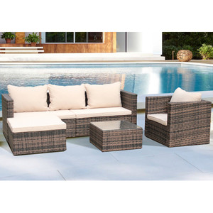 4 piece patio wicker sofa set
