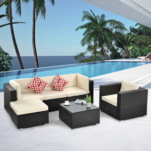 Outdoor Patio Furniture 6-Piece PE Rattan Wicker Sectional Cushioned Sofa Sets with 2 Pillows and Modern Glass Coffee Table