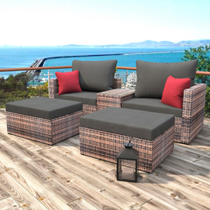 Sectional 5 Pieces Garden Patio Conversation Sofa Set
