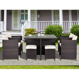 9 Piece Rattan Conversation Set with Cushions, Patio Rattan Dining Set