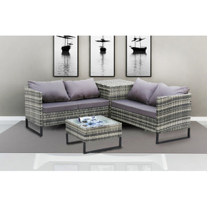 4-Piece With Storage Box Outdoor Conversation Set Rattan Patio Furniture Set Bistro Set Sofa Chairs with Coffee Table (Mixed Gray+Dark Gray)