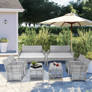 TOPMAX 8 Pieces Outdoor Furniture Rattan Chair & Table Patio Set Outdoor Sofa for Garden, Backyard, Porch and Poolside( Sef of 2,4pcs/set)