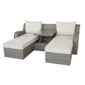 Patio Sectional & 2 Ottomans (2 Pillows) in Beige Fabric & Gray Wicker 45010