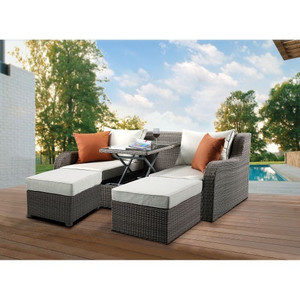 ACME Salena Patio Sectional & 2 Ottomans (2 Pillows) in Beige Fabric & Gray Wicker 45010